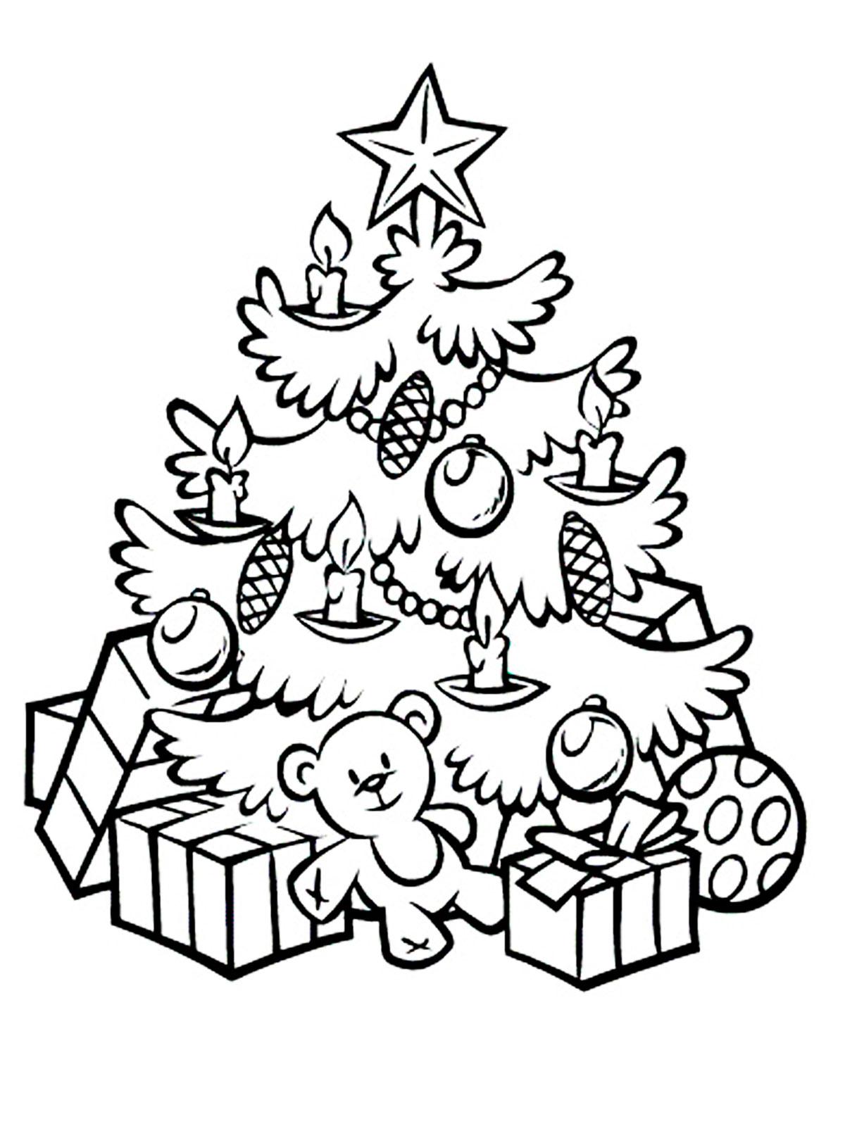 Раскраска елочка на новый год
