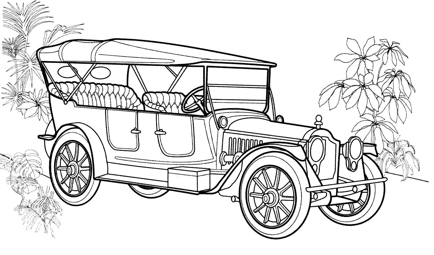 Раскраска старинные машины. Скачать. Распечатать