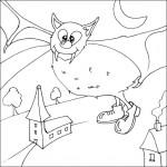 раскраска хэллоуин, раскраска летучая мышь