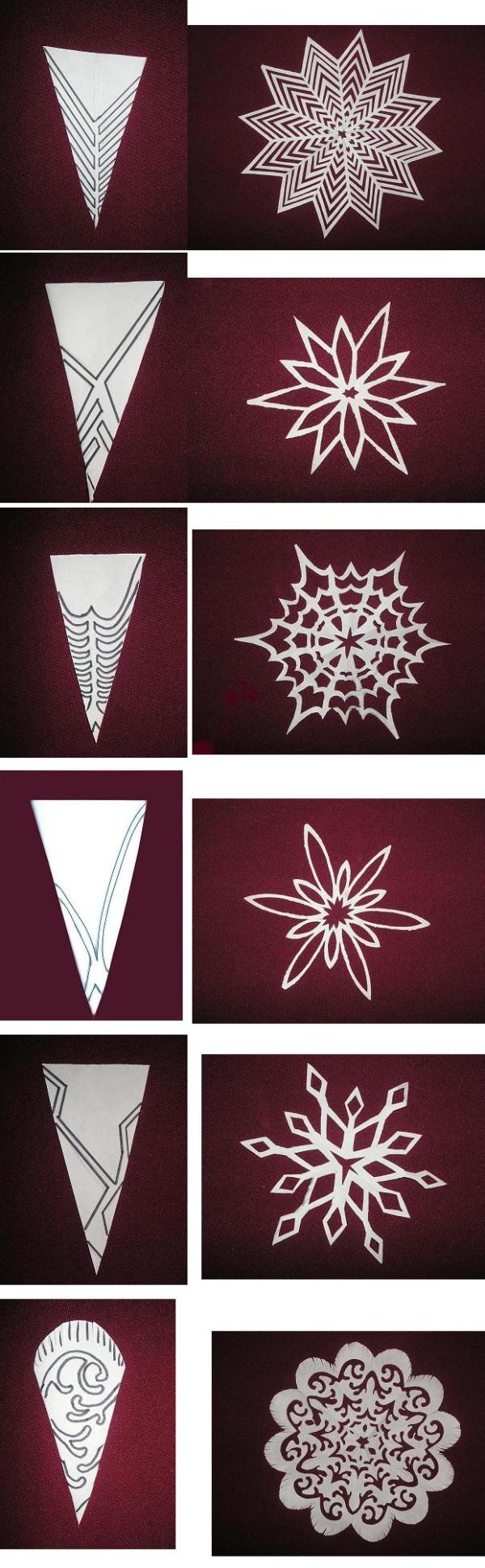 Снежинки из бумаги своими руками фото схемы