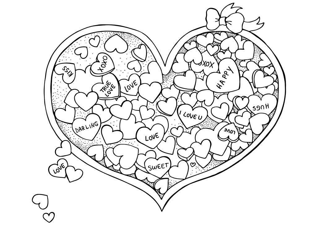 for Valentine day coloring page